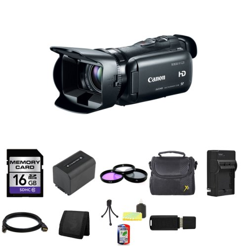Canon 32GB VIXIA HF G20 Full HD Camcorder HFG20 8063B002 + 16GB SDHC Class 10 Memory Card + 58mm 3 Piece Filter Kit + Extra BP-819 Battery + Carrying Case + HDMI Cable + External Rapid Charger + Memory Wallet + Table Top Tripod, Lens Cleaning Kit, LCD Protector + USB SDHC Reader