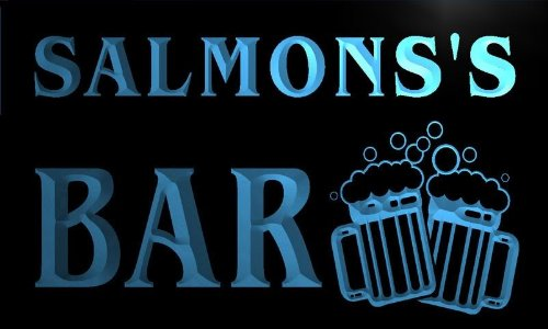 W009688-B Salmons'S Name Home Bar Pub Beer Mugs Cheers Neon Light Sign