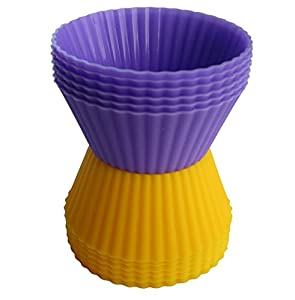 Silicone Baking Cups By MGE Chef - Set of 12 Reusable Cupcake Liners in Two Vibrant and Nice Colors, Yellow and Purple.