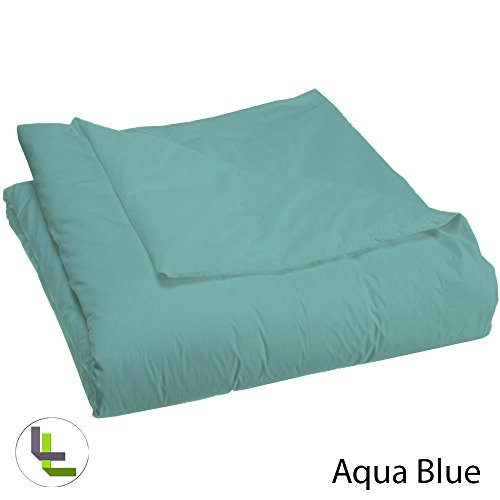 600TC in cotone egiziano 100% , piumino in dotazione, elegante, Cotone, Aqua Blue Solid, Euro_Super_King_Extra_Long