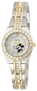 Disney Women's MK2003 Mickey Mouse Two-Tone Rhinestone Bracelet Watch