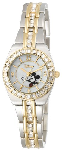 Disney Women's MK2003 Mickey Mouse Two-Tone Rhinestone Bracelet Watch