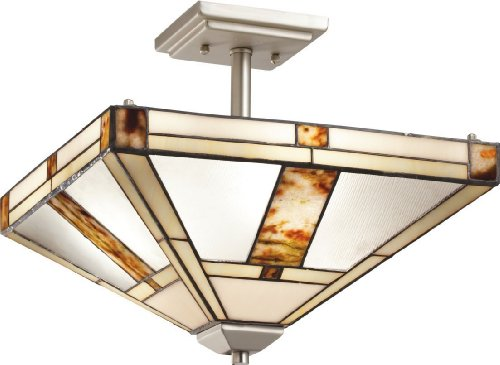 B008FYG31S Kichler Lighting 69164 Bryce 3-Light Semi-Flush Ceiling Fixture, Brushed Nickel Finish with Tiffany Art Glass Shade