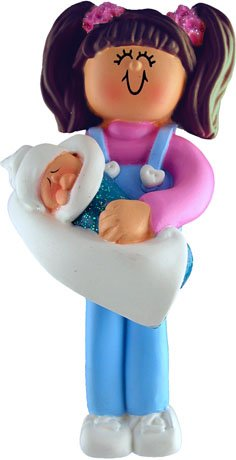 Brunette Big Sister Holding Baby Christmas Ornament