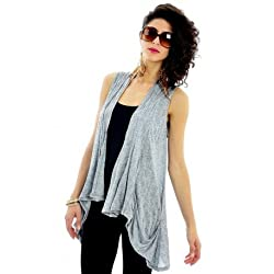 Women's Sleeveless Open Front Grey Cardigan
