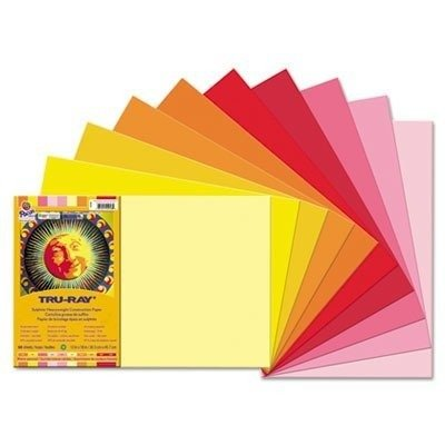 Pacon 102948 Tru-Ray Construction Paper, 12 x 18 Inches, Warm Colors Assortment, 50 Sheets - 1