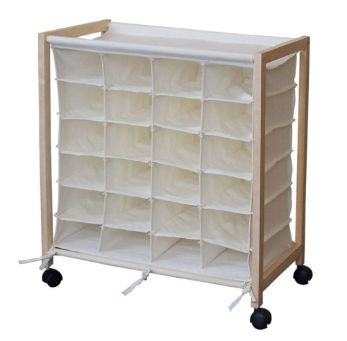 24 PAIR SHOE ORGANIZER STORAGE CHEST CART ROLLER CLOSET CUBE