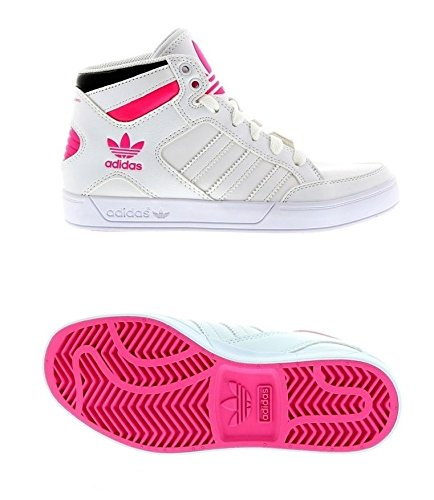 Adidas Originals Chaussures de sport Fille Multisports Outdoor Sneaker Girls Trainers Hard Court Hi Sneakers Junior Sport Shoes White/Pink UK Sizes 4 4.5 5.5 6 6.5 New AF4316