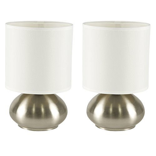Light Accents Table lamps Brushed Nickel With Fabric Shades and 3-stage Switch Dimmer (Low, Bright, and Off) Set of 2 Side Table Lamps for Bedroom End Table (Side Tables With Lamps compare prices)