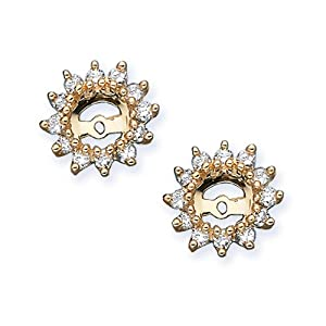 14K Yellow Gold 1/2 ct. Diamond Earring Jackets (Higher Quality)