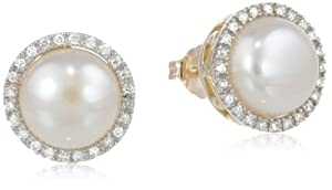 10k Yellow Gold Lady Di Freshwater Cultured Pearl and Diamond Stud Earrings by Amazon Curated Collection