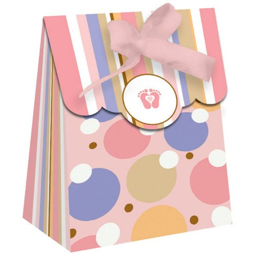 Tiny Toes Pink Baby Shower Party Favor Mini Bags 12 Pack front-694283