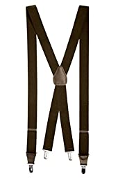 Mens Elastic X-back Adjustable Clip-on Suspenders With Leather Trim - Brown (Regular, 46\