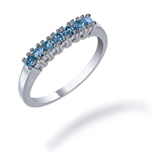 2/5 CT 7 stone Blue Diamond Ring in Sterling Silver (Available in Sizes 5 - 9) from FineDiamonds9