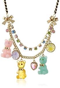 "Betsey Johnson ""Heart Candy Boost"" Gummy Bear Necklace, 19"""