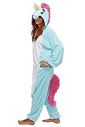 Adulte Unisexe Animal Costume Cosplay Combinaison Pyjama Outfit Nuit Fleece Halloween Unicorn (M, Blue)