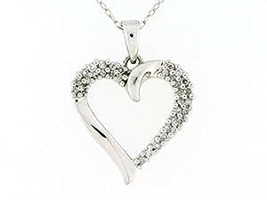 Genuine Diamond 1/5cttw Open Heart Pendant in Sterling Silver