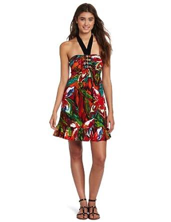 Wrapper Juniors Beaded Bustier Halter Dress, Multi-Color, X-Large