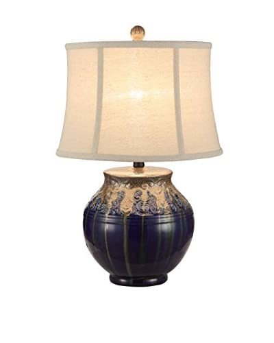 Fox Hill Trading Metallic Drip Glaze Ceramic Table Lamp, Blue