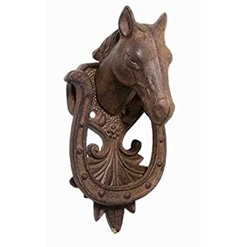 Iwgac Home Decorative Holiday Season Christmas Collectible Cast Iron Horse Door Knocker