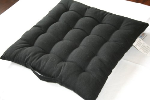 Homescapes - Seat Pad - Black - 40 x 40 cm - Indoor - Garden - Dining - Chair Cushion - 100% Cotton - Well Filled - Easy Care - Washable At Home