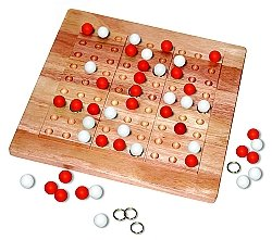 Tic-Tac-Ku Solid Wood Game Red/White