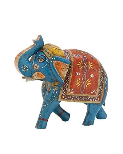 Wood Painted Elephant, Blue