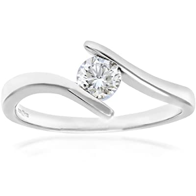 Ariel 18ct White Gold Crossover Engagement Ring, D/SI2 EGL Certified Diamond, Round Brilliant, 0.37ct