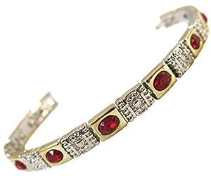 Bracelet femme acier plaque or 9 aimant magnetique 3000g inclusion pierre