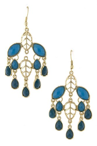 Karmas Canvas Leaf Cutout Jewel Dangle Earrings (Blue)