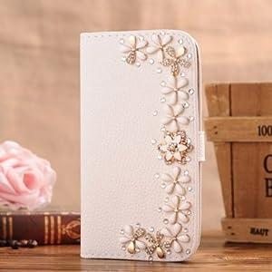 M-LV iPhone 6 Plus Coque Etui Housse en cuir de Bling de diamant cristal Folio With Card Holder & Ma