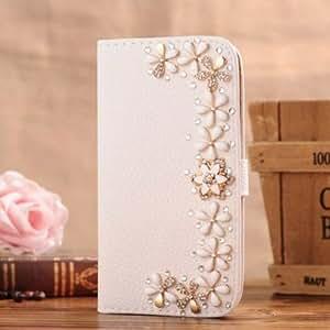 J-GUESS Samsung Galaxy ACE S5830/gt-s5839i Housse en cuir de Bling Folio Diamant Cristal With Magnetic Flip Horizontals Card Holder - Blanc 11Fleurs
