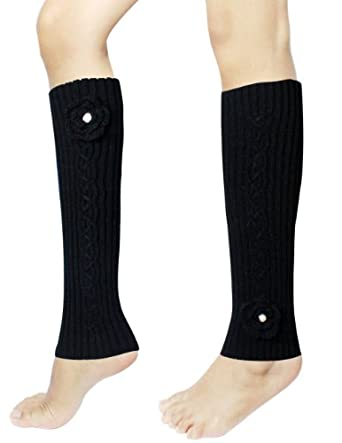 Dahlia Women's Knit Leg Warmers - Hand Crochet Pearl Flower - Black