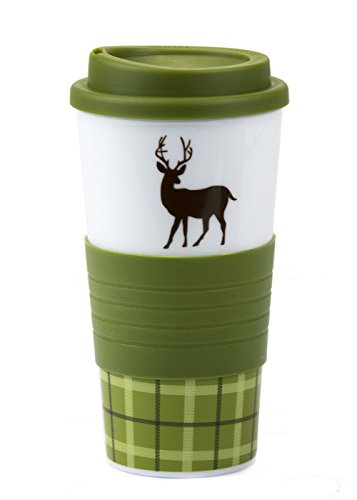 Stylish 18 Oz Bpa-Free Plastic Coffee Tea Tumbler With A Matching Slip Resistant Cup Holder (Green Color)
