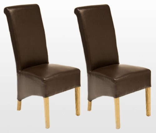 TWO LEATHER DINING CHAIRS WITH OAK LEGS in 4 Colours Brown, Black, Ivory and RED. Send messge to confirm chairs colour