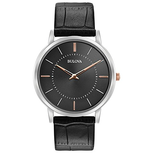 Bulova Ultra Slim Men's Quartz Watch with Grey Dial Analogue Display and Black Leather Strap 98A167