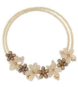 Pearl and Citrine Choker, 'Sukhothai Bouquet'