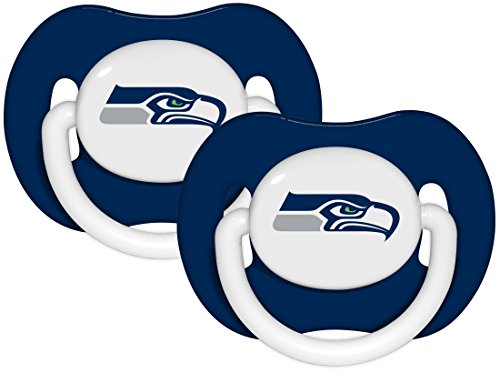 NFL Football 2014 Baby Infant Pacifier 2-Pack - Pick Team (Seattle Seahawks - Solid)