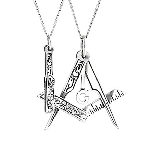 Bling Jewelry Mens 925 Silver Masonic Emblem Foldable Freemason Necklace 16in by Bling Jewelry