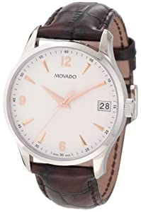 Movado Men's 0606570 Circa Brown Crocodile-Embossed Leather Strap Watch
