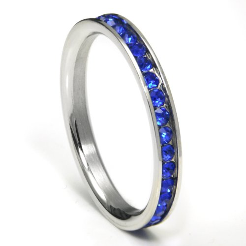316L Stainless Steel Sapphire Blue Cubic Zirconia CZ Eternity Wedding 3MM Band Ring Sz 8