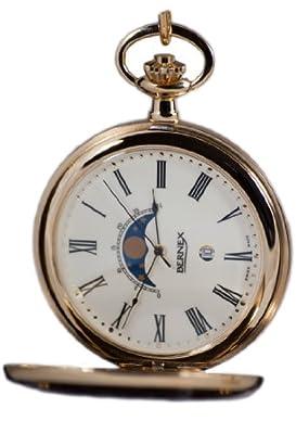 Bernex Pocket Watch GB21107 Gold Plated Half Hunter Moon Phase