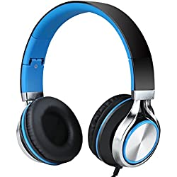 Sound Intone Ms200 Stereo Headsets Strong Low Bass Headphones Earbuds for Smartphones Mp3/4 Laptop Computers Tablet Macbook Folding Gaming Earphones (Black/blue)