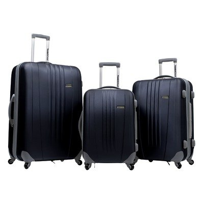 Travelers Choice Luggage Toronto Three Piece Hardside Spinner Luggage, Black, One Size reviews