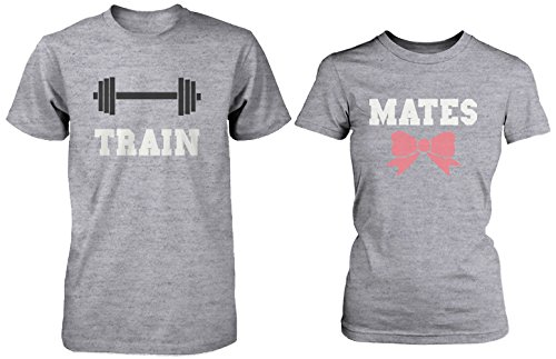 Cute Couple Workout T-Shirts - Train Mates Matching Grey Shirts for Couples