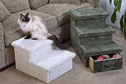 2 or 3 Level Pet Step with Optional Drawer : Color GREEN : Size 2 STEP - NO DRAWER
