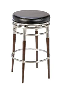 Hillsdale Salem 30-Inch Backless Swivel Bar Stool, Polished Chrome and Rich Maple Accents with Black Vinyl