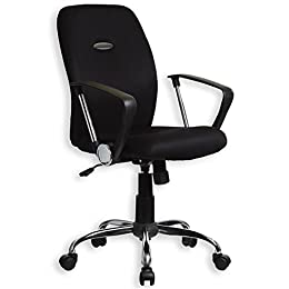 Fauteuil chaise de bureau avec accoudoirs EDGAR, hauteur réglable roulettes tissu mesh noir