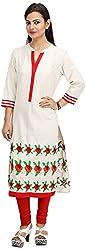 Khushi Garments Women's Cotton Regular Fit Kurta (Khushi03_M, White, Medium)