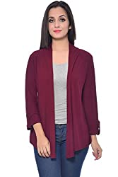Frenchtrendz Dark Maroon Viscose Crepe Shrug